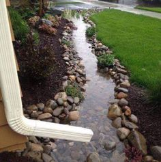 Great way for yard drainage.  Landscape, low maintenance yard.