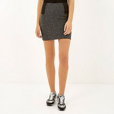 Grey elastic side pull on mini skirt