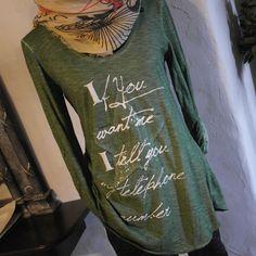 Impressionen Longshirt  Sweatshirt Vintage Pulli shirt grün Stern Schrift 38 40