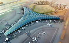 Kuwait International Airport is planned to significantly increase capacity and establish a new regional air hub in the Gulf - these strategic aims will be matched by a state-of-the-art terminal building. Airport Architecture, Architecture Design, Concept Architecture, Norman Foster, Overseas Jobs, Dubai, Airport Design, Foster Partners, Project Management Templates