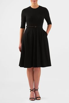 I <3 this Cotton knit belted fit-and-flare dress from eShakti