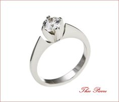 Water Lily Engagement Ring 14 K White Gold