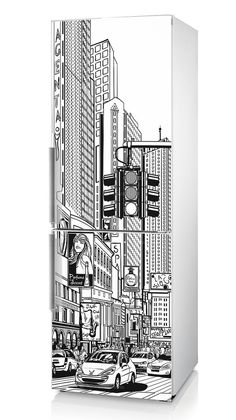 "Fridge decal New York, Vinyl sticker ""NY"", Self-Adhesive Refrigerator Decor, Kitchen Décor, Refrigerator Decal, Fridge Decal with New York"