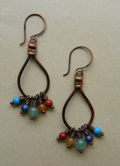 Bead and Leather Earrings by Erin Siegel Jewelry, via Flickr