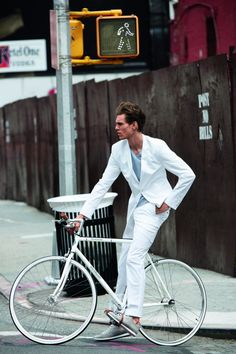 slim white suit