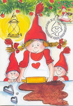 Gnomes family at Christmas / Famiglia di Gnomi a Natale - Artist in Finland Virpi Pekkala Swedish Christmas, Christmas Hearts, Scandinavian Christmas, Christmas Pictures, Vintage Christmas, Valentine Hearts, Christmas Cookies, Valentines, Illustration Noel