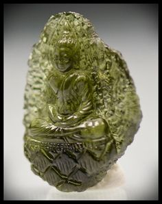 Moldavite (Czech Republic) Buddha Carving 31.10 carats 31x24mm from InnerVision Crystals