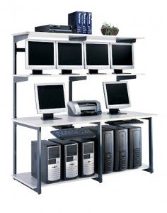 """Affordable racking stations for organizing networking hardware and equipment.  Framework: 1"""" x 2"""" x 72""""H, 14-gauge steel. Frames allow for shelf adjustment in 2"""" increments. Tested to 600 lbs. per 24""""/36"""" frame without failure.  Shelves: Thermally-fused low-pressure laminate over 3/4""""-thick particle board core. Shelves tested to 250 lbs. without failure.  For more information visit: http://sd-office.com/i-9146295-mayline-elan-computer-racking-stations-72-lan-station.html"""