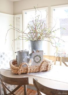 Farmhouse decor:  curly willow branches and fake blossoming branches to this tall galvanized bucket.