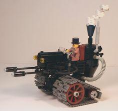 A steam powered flamethrower tank Lego Mechs, Lego Bionicle, Steampunk Lego, Steampunk Crafts, Lego Tattoo, Lego Words, Lego Creator Sets, Lego Spaceship, Lego Activities