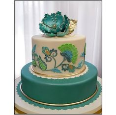 turquoise, gold, and ivory #weddingcake love the vintage almost tapestry details