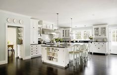 Love the gray walls for the white kitchen...