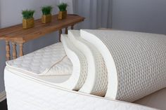 Savvy Rest natural latex mattresses can be customized with Soft, Medium or Firm layers of natural Dunlop and/or natural Talalay latex. The Serenity model (pictured) has three layers, but we also offer two- and four-layer mattresses. How do you Savvy Rest? King Size Mattress, Best Mattress, Crib Mattress, Latex Mattress, Dreams Beds, Pillow Reviews, Natural Latex, Wool Pillows, Queen