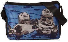 Sea Otters Large Messenger Bag by Salvador Kitti by SalvadorKitti, $45.00