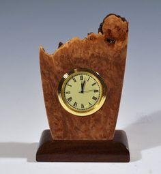 Freeform natural edge maple burl wood clock