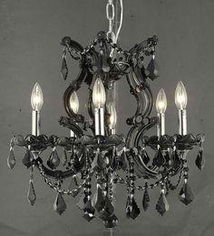 "Elegant Lighting 2800D20B/RC Maria Theresa Collection Dining Room Hanging Fixture D20"" x H25"" x 1 Black Finish (Royal Cut Jet Black Crystal)"
