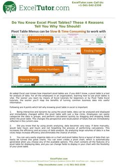 An adept Excel user knows how important pivot tables are. If you didn't know, a pivot table is a tool for analysis of data. For all the employees in an organization, learning how to use pivot tables is vital. Read full presentation here at SlideServe.