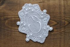 Vintage craft supply - 3.5 inch cotton lace embroidered monogram letter O by Yebisu on Etsy