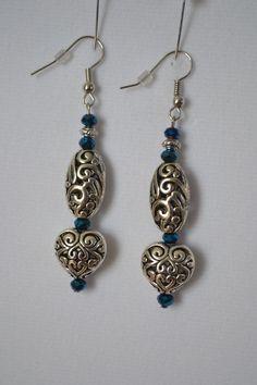 Silver Heart Earrings by SKDesignsCo on Etsy