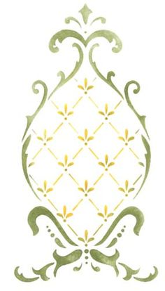 Small Pineapple Medallion Wall Stencil