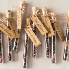 When you're scratching your head for a guest favour that ticks so many boxes, choose our tea leaf test tube bomboniere.The tea leaves make it a natural match for a vintage garden theme, the glass test tube containers makes it a fun fit for a geek party, while the labels can be personalised with your and your partner's names and wedding date for a rustic theme in brown kraft paper.You can choose from such delicious loose leaf flavours as black rose, chai, Earl Grey, English Breakfast, green…