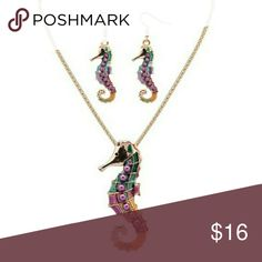 """Colorfull Oil Drip Seahorse Necklace Set Goldtone  Necklace Pendant Approx 3"""" long  Earring Pendant Approx 1.5"""" Long Jewelry Necklaces"""