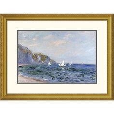 Global Gallery 'Cliffs and Sailboats at Pourville' by Claude Monet Framed Painting Print Size: