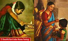 25 Beautiful Rural Indian Women Paintings by Tamilnadu artist ilayaraja 7 realistic tamil woman painting by ilayaraja Mysore Painting, Rajasthani Painting, Tanjore Painting, Krishna Painting, Mughal Paintings, Indian Art Paintings, Monet Paintings, Woman Painting, Artist Painting