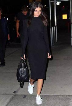 kendall jenner black turtleneck dress street style