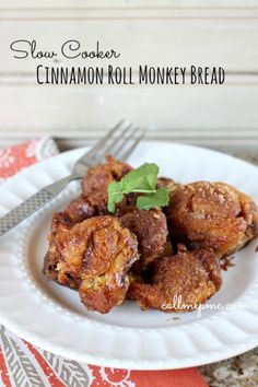 Slow Cooker Cinnamon Roll Monkey Bread - Call Me PMc
