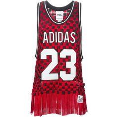 Adidas Originals Adidas Originals X  Jeremy Scott Basketball Top (2.455 BRL) ❤ liked on Polyvore featuring tops, red, scoopneck top, red scoop neck top, red sleeveless top, adidas originals and woven top
