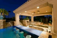 Backyard, outdoor kitchen, pool, & in pool bar seating | Pools ...
