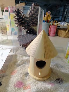 Make a Fairy House out of wooden bird house