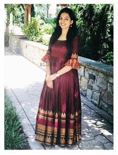 Colored Blus South Indian Wedding Gown is part of Kalamkari dresses - Buy Online Colored Blus South Indian Wedding Gown From Mongoosekart com Saree Gown, Sari Dress, Anarkali Dress, Frock Dress, Anarkali Suits, Lehenga, Sarees, Indian Wedding Gowns, Indian Gowns Dresses