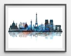 Paris skyline watercolor print Paris cityscape print Paris view poster paris illustration geography art world cities skylines [499]