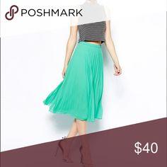 ASOS - Midi Green Pleated Skirt Gorgeous midi skirt. Only worn once. ASOS Skirts Midi