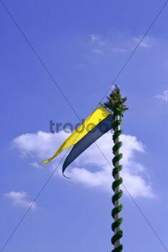 Munich flag on an ornate mast Oktoberfest Munich Bavaria Germany Europe