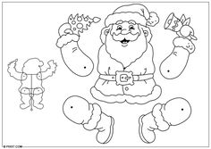Santa to color jumping jack or articulated paper doll Christmas Sewing, Christmas Paper, Christmas Elf, Christmas Colors, Christmas Projects, Christmas Crafts, Santa Claus Drawing, Christmas Cards Drawing, Christmas Coloring Sheets