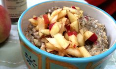 Raw Apple Chia Porridge -- Upped milk to 1/4 c. and used more chia seeds in place of hemp seeds.  Make a double-batch and keep it in the fridge. Filling and yummy! ~nw