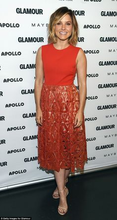 Radiant in red: Sophia Bush looked gorgeous during her first promotional appearance of the...