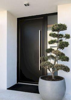 22 Modern Door Design Ideas - Local Home US - Home Improvement Modern Exterior Doors, Contemporary Front Doors, Double Doors Interior, Contemporary Interior Doors, Door Planter, Front Door Planters, Front Entrance Decor, Exterior Front Door Colors, Modern Exterior