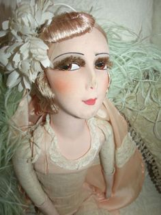 Antique-1920s-French-Silk-Face-Boudoir-Doll-Lashes-Blond-Hair-in-Lingerie-31