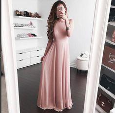 Blush Open Back Evening Dress,Prom Dress,Long Chiffon Evening Dress,Maxi Dresses,Simple Evening Dresses by DRESS, $128.00 USD