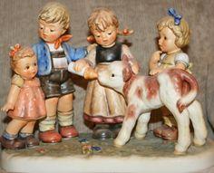 Hummel Figurine Happy Pastime | Hummel Figurines Sale Goebel Figurines, Farm Day, Art Nouveau, Baby Goats, Cold Porcelain, Printable Art, Sculpture, Dolls, Happy