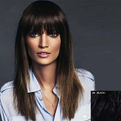 Vogue Full Bang Capless Sophisticated Silky Straight Long Real Natural Hair Wig For Women