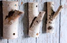 3 рс. Natural Branch Wall Hooks, Rustic Wooden Coat Hooks, Coat Rack, Birch…