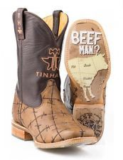 New Men's Tin Haul 0081 Don't Fence Me In Barb Wire Brown Leather Western Boot