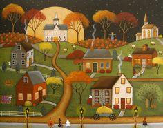 """Original Folk Art Painting """"A Night For Treats"""" by Mary Charles  starlitestudios.blogspot.com"""