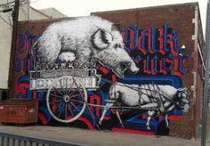 "Jesse Hazelip, created the following mural titled ""Hearts of Oak."""