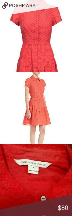 "Diane von Furstenberg Skylar Eyelet Dress Beautiful coral colored dress. Perfect for spring. In perfect condition; only worn once. Size 6. Lined in a matching fabric. Chest: 17"". Hips: 22"". Length from waist to bottom of dress: 20"". Side zipper.  First two photos are stock photography; last two photos are mine. Diane von Furstenberg Dresses"